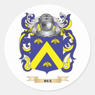 Escudo de armas de la abeja escudo de la familia etiquetas redondas