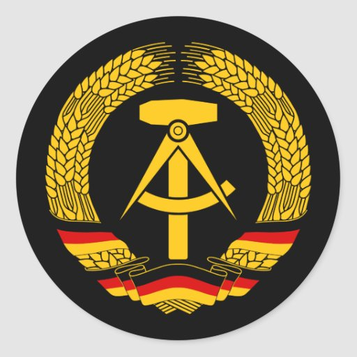 Escudo de armas de la Alemania Oriental/sello del Pegatina Redonda