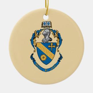 Escudo de armas de la alfa de la phi de la theta adorno navideño redondo de cerámica