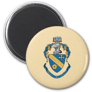 Escudo de armas de la alfa de la phi de la theta imán redondo 5 cm