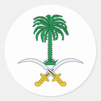 Escudo de armas de la Arabia Saudita Pegatina Redonda