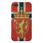 Escudo de armas de la bandera de Noruega iPhone 4 Funda