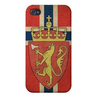Escudo de armas de la bandera de Noruega iPhone 4 Carcasas