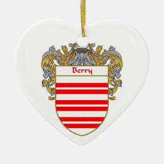 Escudo de armas de la baya/escudo de la familia adorno de cerámica en forma de corazón