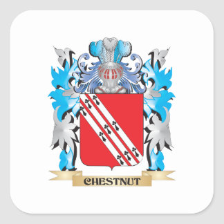 Escudo de armas de la castaña - escudo de la pegatina cuadrada