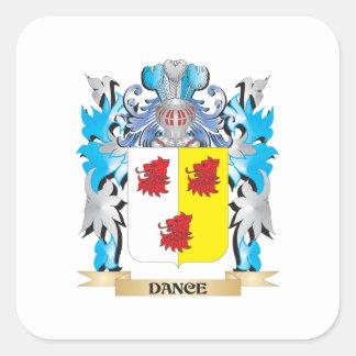 Escudo de armas de la danza - escudo de la familia pegatina cuadrada