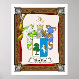 Escudo de armas de la familia Balla3 en voluta de  Póster