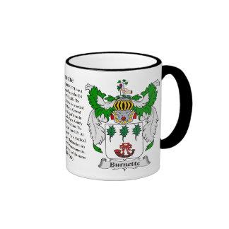 Escudo de armas de la familia de Burnette Taza De Dos Colores