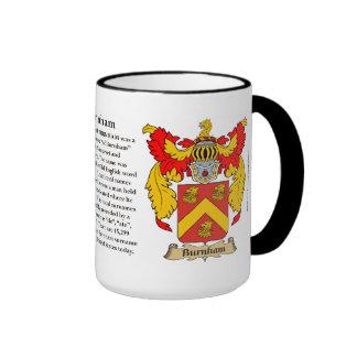 Escudo de armas de la familia de Burnham Tazas De Café