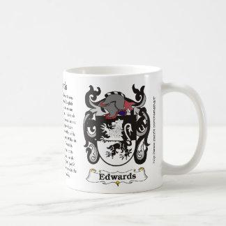 Escudo de armas de la familia de Edwards una taza