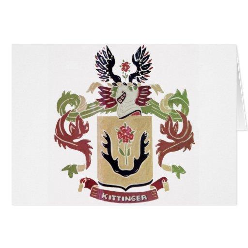Escudo de armas de la familia de Kittinger (escudo Tarjeta De Felicitación