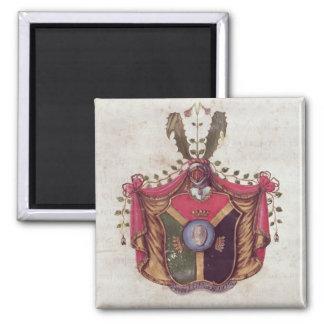 Escudo de armas de la familia de Linnaeus Imán Cuadrado