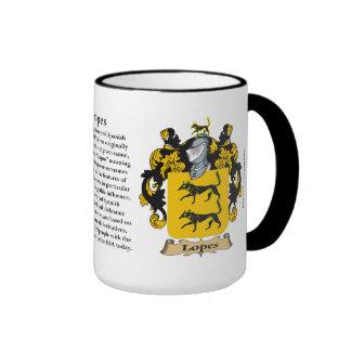 Escudo de armas de la familia de los medios galope taza de café