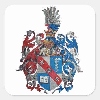 Escudo de armas de la familia de Ludwig von Mises Calcomania Cuadradas Personalizada