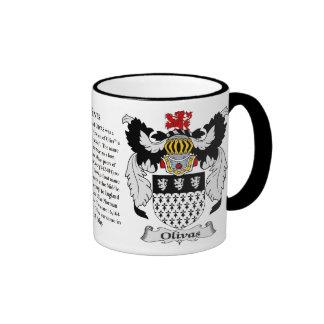 Escudo de armas de la familia de Olivas Taza De Dos Colores