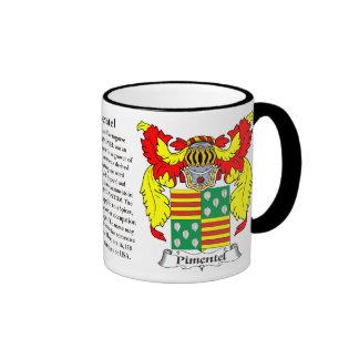 Escudo de armas de la familia de Pimentel Tazas De Café