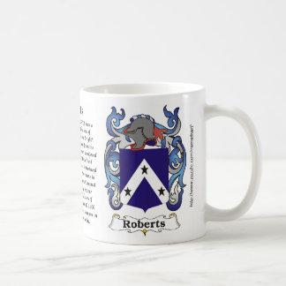 Escudo de armas de la familia de Roberts una taza