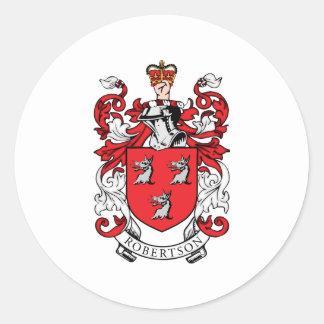 Escudo de armas de la familia de Robertson Pegatina Redonda