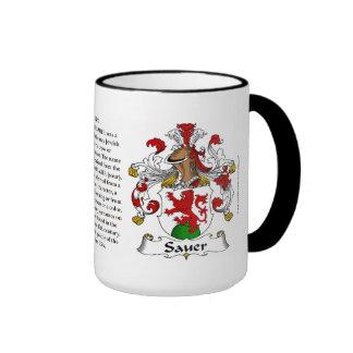 Escudo de armas de la familia de Sauer Tazas De Café