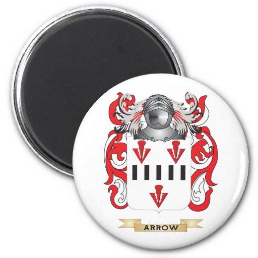 Escudo de armas de la flecha (escudo de la familia imán redondo 5 cm