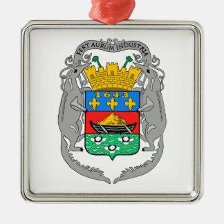 Escudo de armas de la Guayana Francesa Adorno Cuadrado Plateado