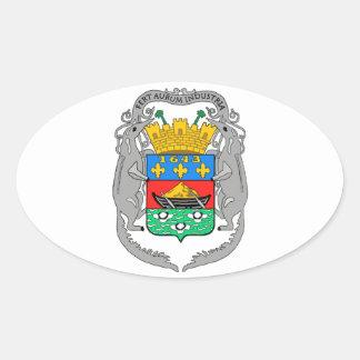 Escudo de armas de la Guayana Francesa Pegatina Ovalada