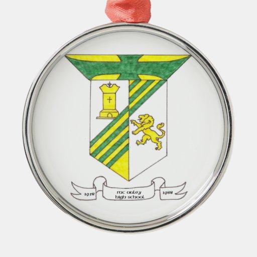 Escudo de armas de la High School secundaria de Adorno Redondo Plateado