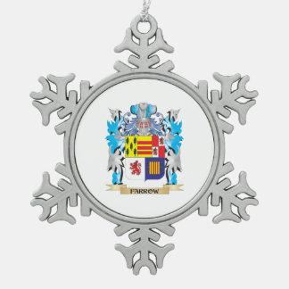 Escudo de armas de la lechigada de puercos - adorno de peltre en forma de copo de nieve