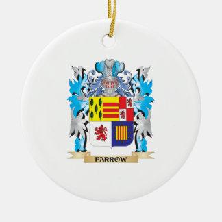 Escudo de armas de la lechigada de puercos - adorno navideño redondo de cerámica