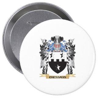 Escudo de armas de la pieza de ajedrez - escudo de pin redondo 10 cm