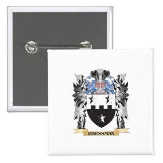 Escudo de armas de la pieza de ajedrez - escudo de pin cuadrada 5 cm