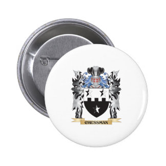 Escudo de armas de la pieza de ajedrez - escudo de pin redondo 5 cm
