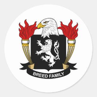 Escudo de armas de la raza/escudo de la familia etiqueta redonda
