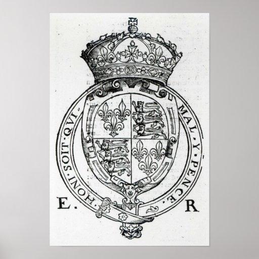 Escudo de armas de la reina Elizabeth I Póster