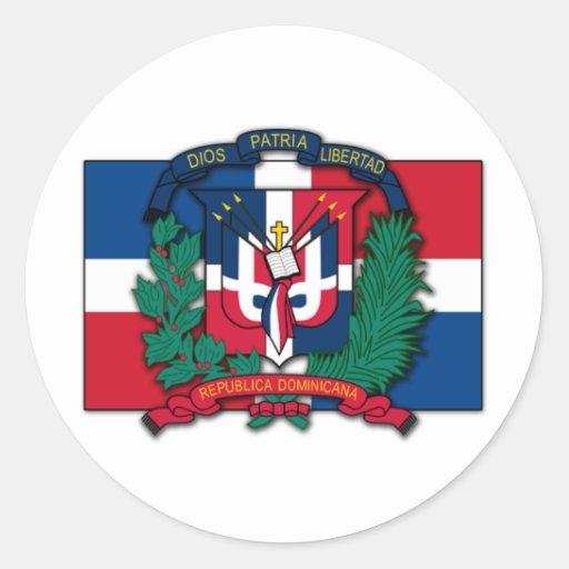 Escudo de armas de la República Dominicana Etiquetas Redondas