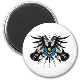 Escudo de armas de la roca imán redondo 5 cm