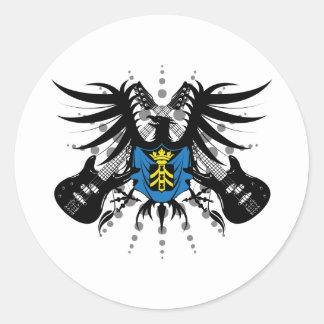 Escudo de armas de la roca pegatina redonda