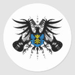 Escudo de armas de la roca pegatinas redondas