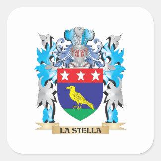 Escudo de armas de La-Stella - escudo de la Pegatina Cuadrada