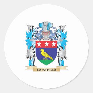 Escudo de armas de La-Stella - escudo de la Pegatina Redonda