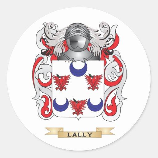 Escudo de armas de Lally (escudo de la familia) Etiqueta Redonda