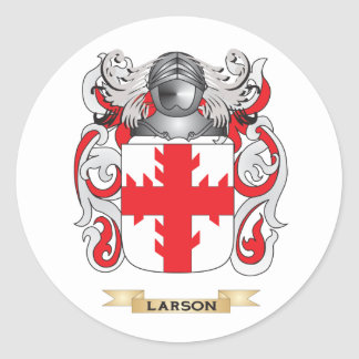 Escudo de armas de Larson (escudo de la familia) Pegatina Redonda