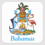 Escudo de armas de las Bahamas Calcomanía Cuadradas
