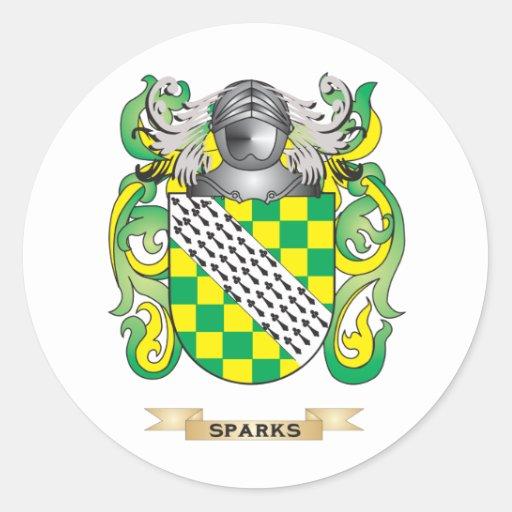 Escudo de armas de las chispas (escudo de la pegatina redonda