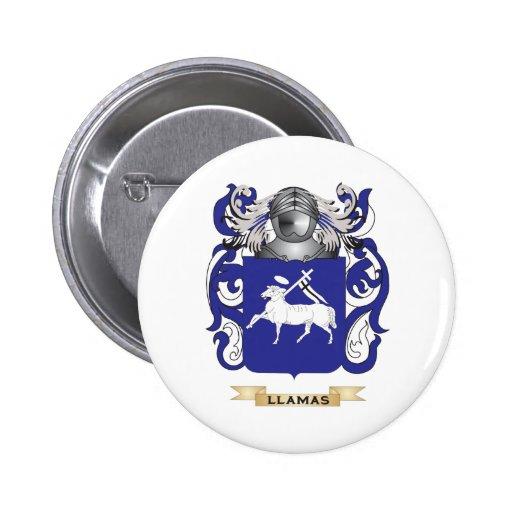Escudo de armas de las llamas (escudo de la famili pin redondo 5 cm