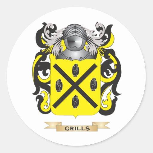 Escudo de armas de las parrillas (escudo de la pegatina redonda