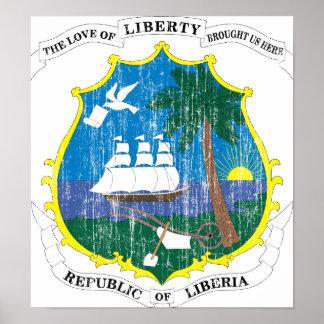 Escudo de armas de Liberia Póster