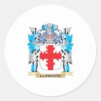 Escudo de armas de Llorente - escudo de la familia Pegatina Redonda