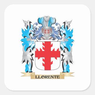 Escudo de armas de Llorente - escudo de la familia Pegatina Cuadrada
