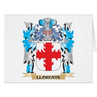 Escudo de armas de Llorente - escudo de la familia Tarjeta De Felicitación Grande